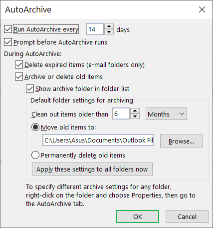 Increase the number of days to run the AutoArchive process