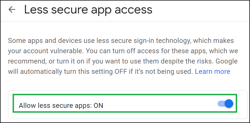 Move the toggle to allow a less secure app