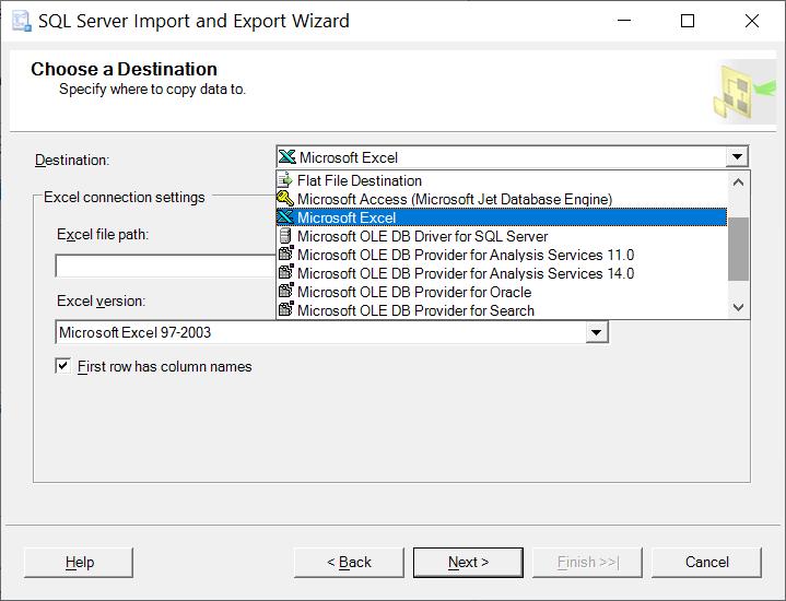 Destination drop-down, you should choose Microsoft Excel