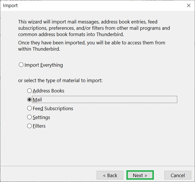 Choose to Import Everything or select the dedicated items