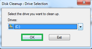Select the disk drive from the drop-down list