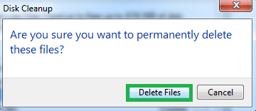 Click on the Delete Files option on the next dialogue box
