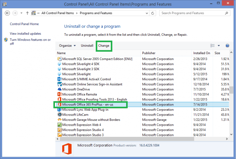 Select the Microsoft Office 365 program and click Change