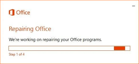 Repairing process starts for the entire Office applications including Outlook