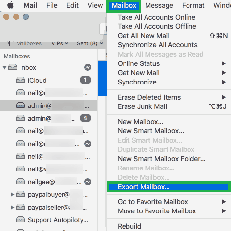Click the Mailbox option. Then choose Export Mailbox