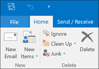 Start Outlook and click the File option in the menu bar