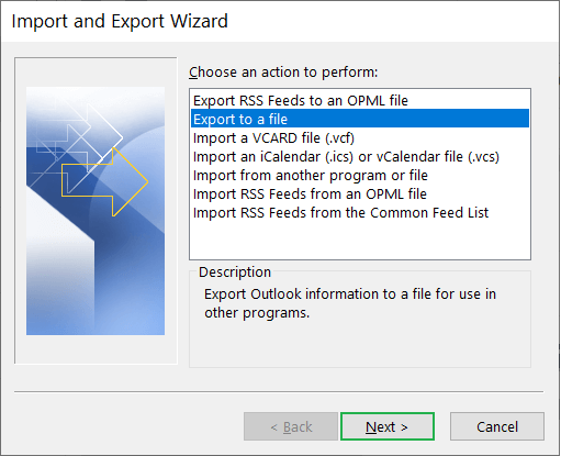 Choose Export to a file option. Click Next