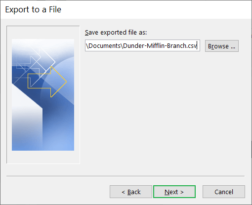 Click Next after selecting the CSV file