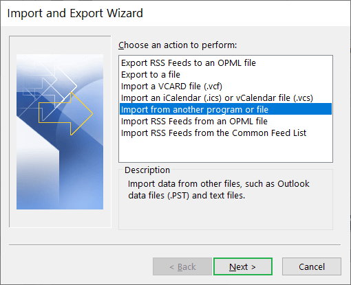 Import/export wizard to import the CSV file