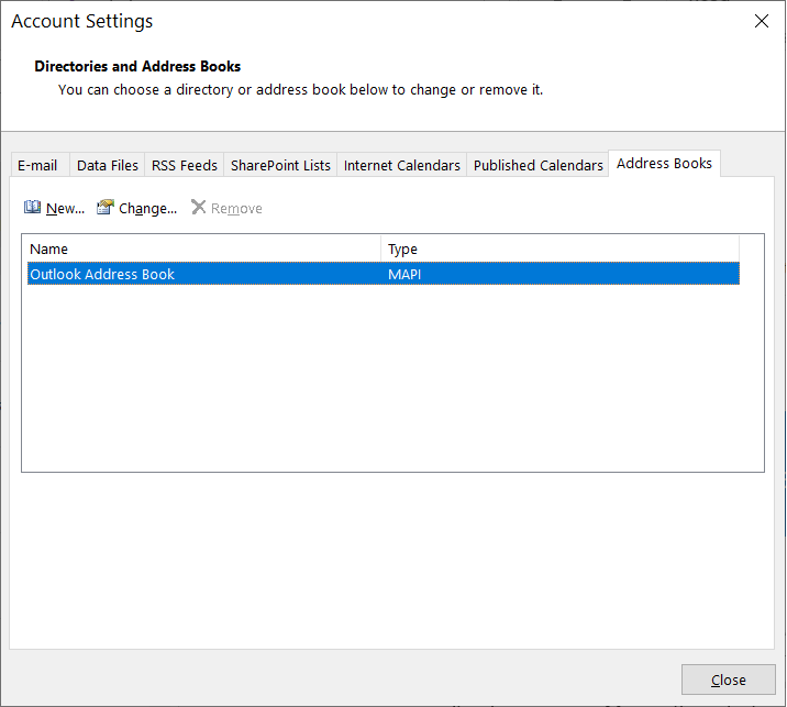 Open Account Settings and go to the Address Book tab