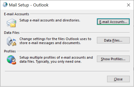 In Mail Setup – Outlook, click Show Profiles