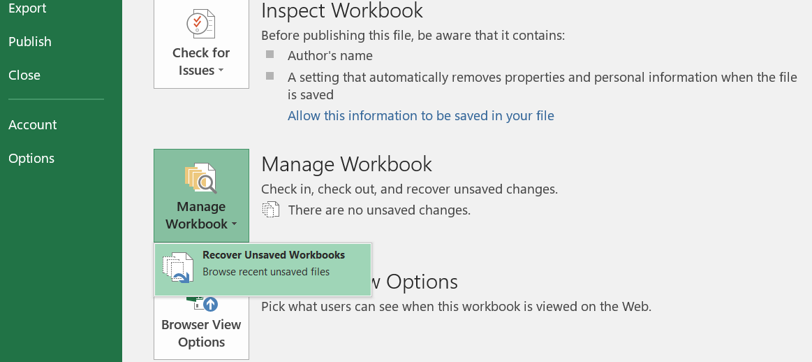Click the Recover Unsaved Workbooks