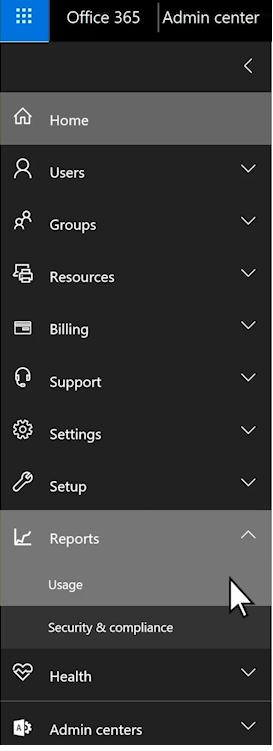 List of Admin Center, go to Reports and choose Usage
