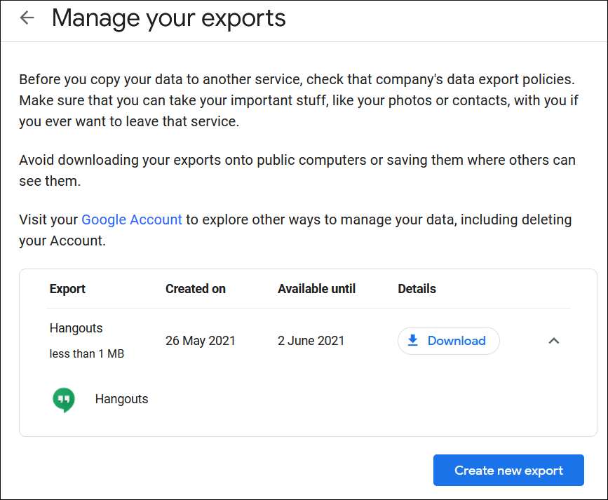 Create an export job for other applications