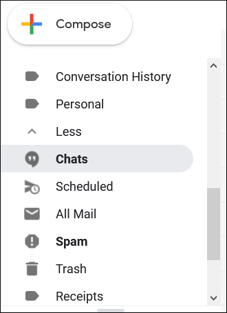 Go to Gmail and find the Chats folder in the folder list