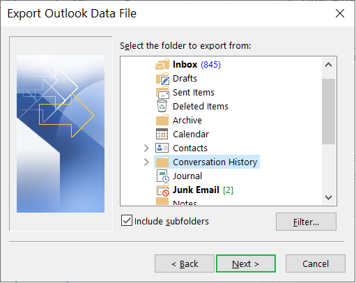 Select the folder that you want to save in the backup file
