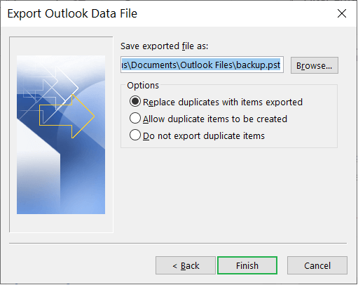 Choose the Options to manage duplicate items