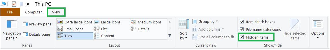 View option and check 'Hidden Items