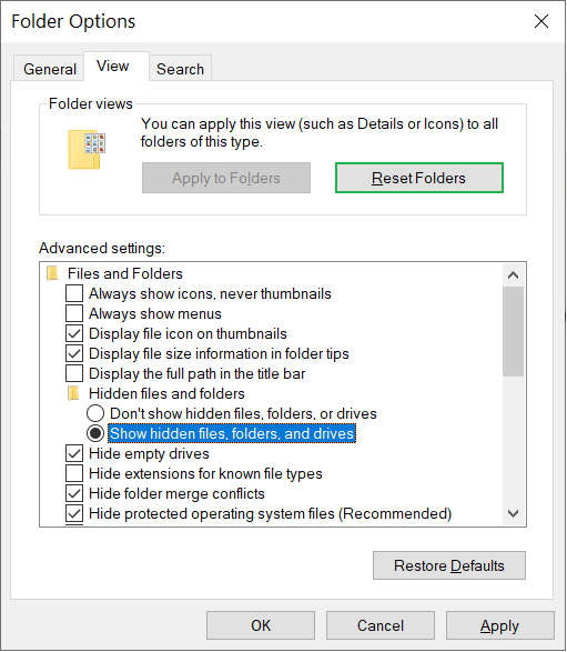Choose the box to 'show hidden files, folders, and drives.'