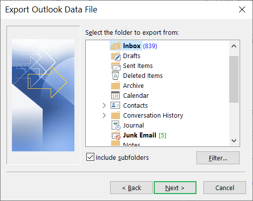Select all the folders that you want to export in the PST file