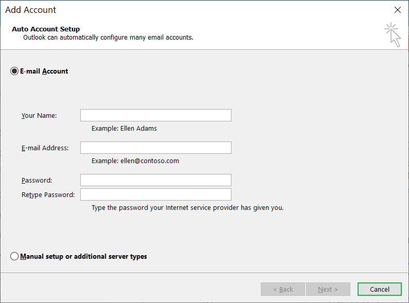 Open the wizard to enter details for a new account