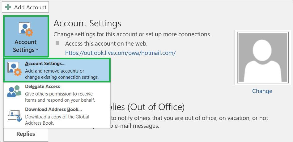 Click Account Settings>>Account Settings