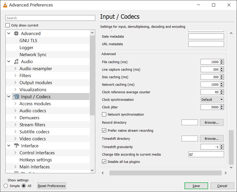 Manage the Input/Codec Settings