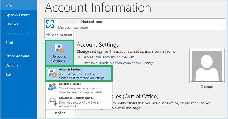 Click Account Settings, then click Account Settings again