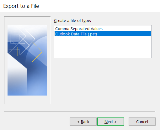 Select Outlook Data file (.pst) as the output format for your Outlook profile