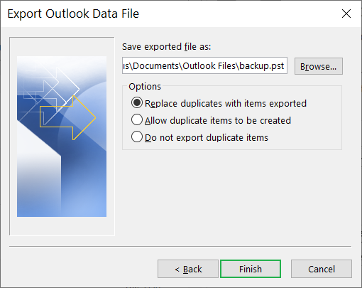 Save the new PST file at a suitable location
