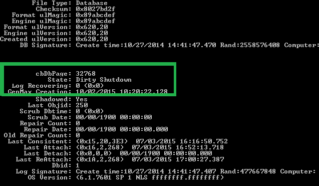 Run the command to check the status of the database