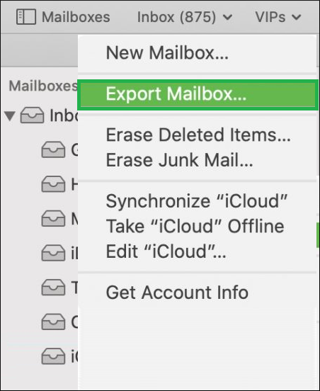 Go on the Mailbox tab and click Export Mailbox