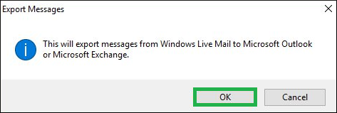 This will export messages from Windows Live Mail to Microsoft Outlook or Microsoft Exchange