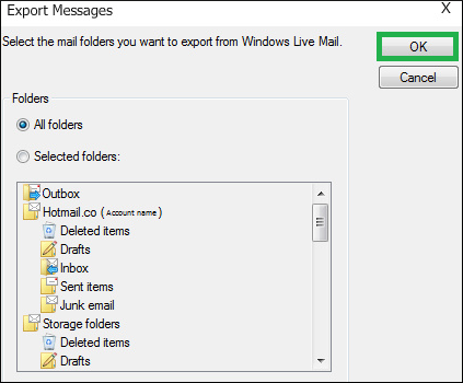 Apply using a different option to select individual folders