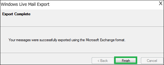 Your messages were successfully exported using the Microsoft Exchange format