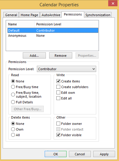 Permission level is set to Contributor and None