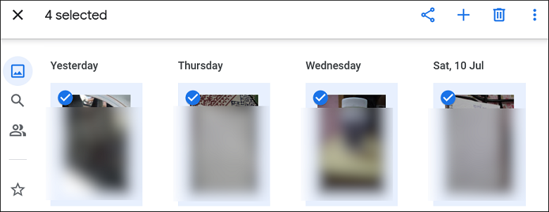 Select the images that you want to share with another Google account