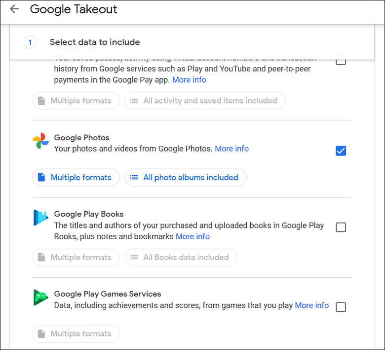 Click the checkbox in front of Google Photos and click Next