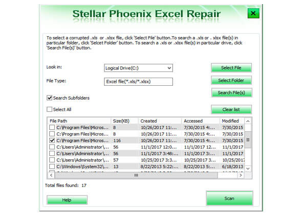 Select Excel file and folder to repair