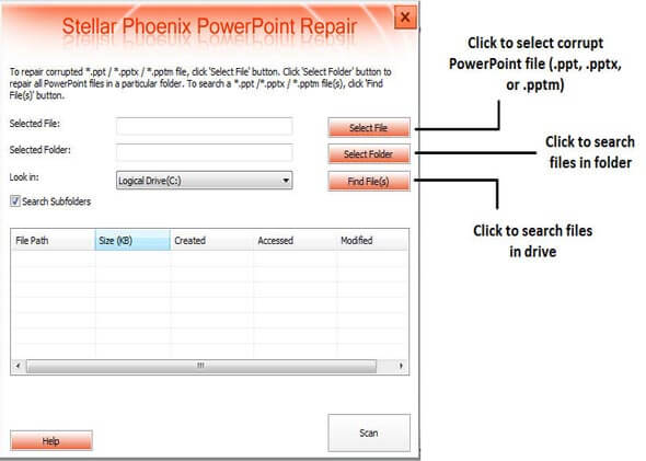 Select corrupt PowerPoint files