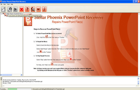 Preview of repaired PowerPoint files