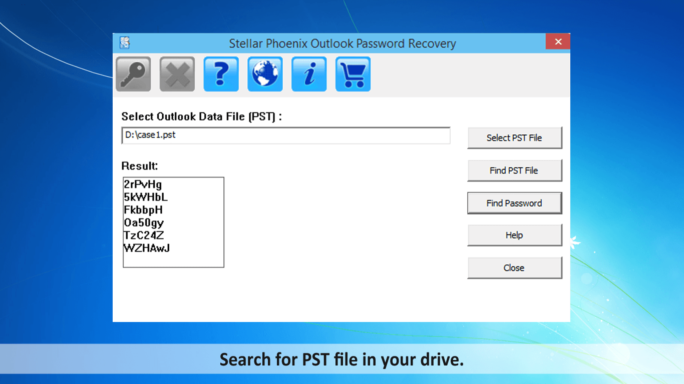 Search PST file in drive