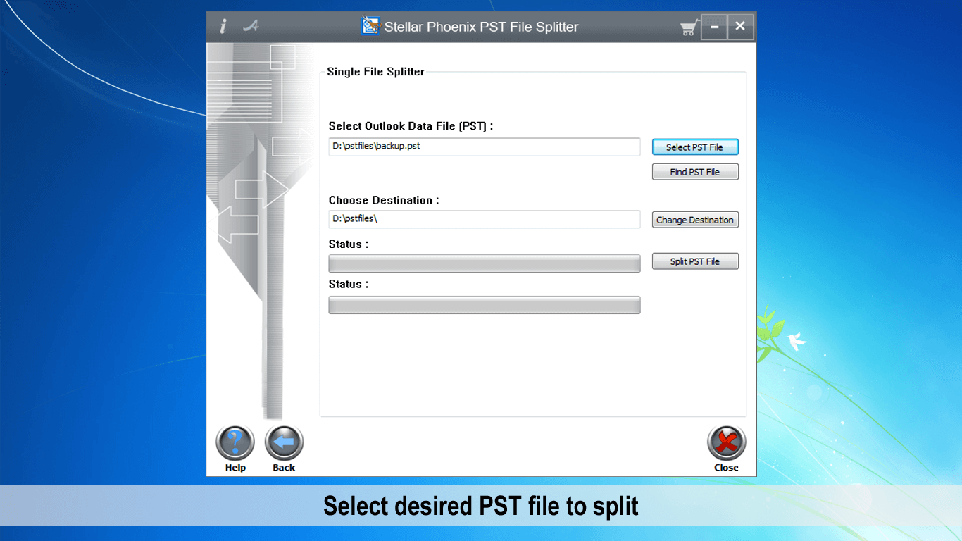 Select PST file to split