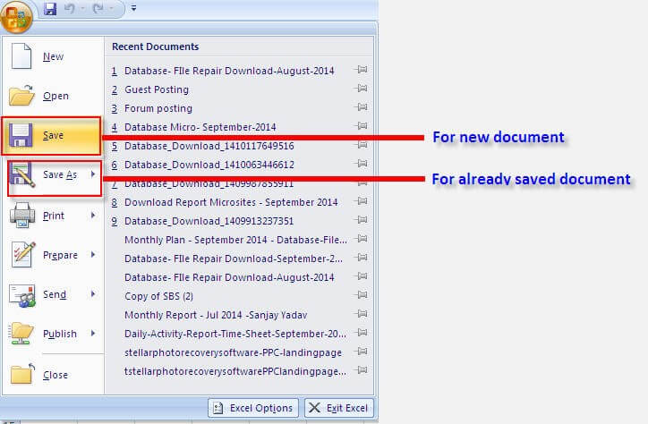 document recovery excel 2007